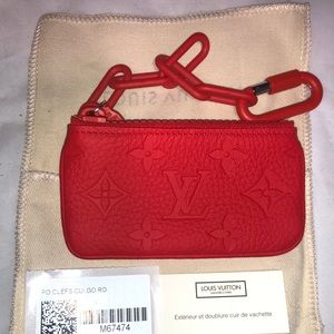 Louis Vuitton Red Cles coin pouch